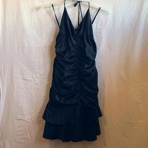 BLACK RUFFLE HEM HALTER NECK TIE MINI DRESS - 13
